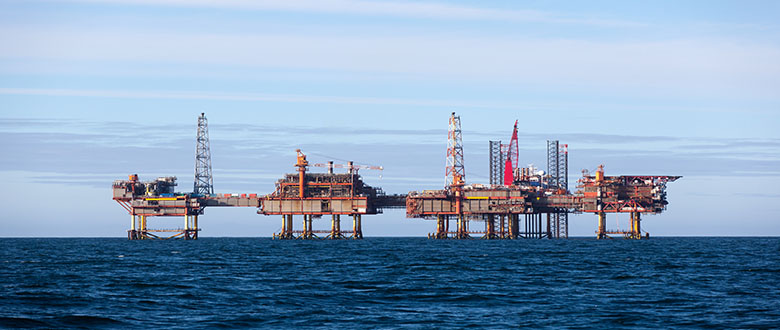 Oil platform at day